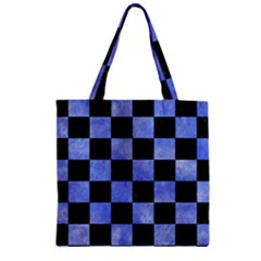 Square1 Black Marble & Blue Watercolor Zipper Grocery Tote Bag by trendistuff