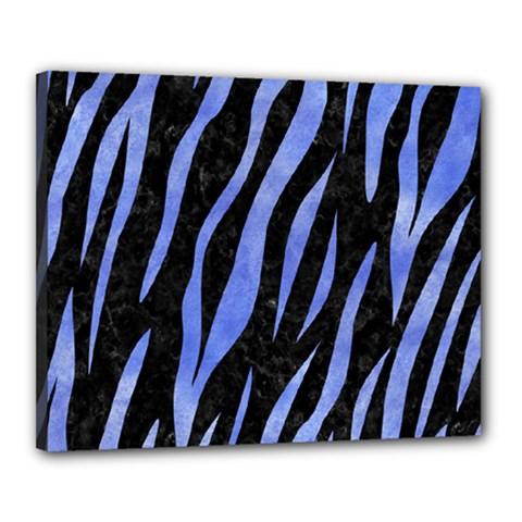 Skin3 Black Marble & Blue Watercolor Canvas 20  X 16  (stretched) by trendistuff