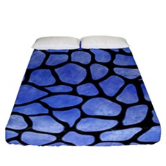 Skin1 Black Marble & Blue Watercolor Fitted Sheet (california King Size)