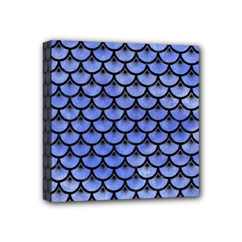 Scales3 Black Marble & Blue Watercolor (r) Mini Canvas 4  X 4  (stretched) by trendistuff