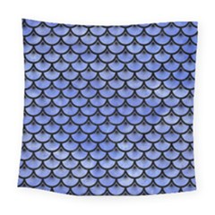 Scales3 Black Marble & Blue Watercolor (r) Square Tapestry (large) by trendistuff