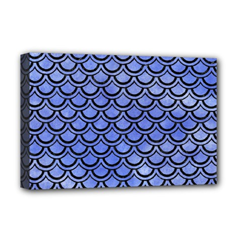 Scales2 Black Marble & Blue Watercolor (r) Deluxe Canvas 18  X 12  (stretched) by trendistuff