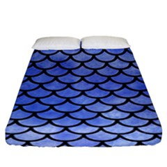 Scales1 Black Marble & Blue Watercolor (r) Fitted Sheet (king Size) by trendistuff
