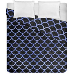 Scales1 Black Marble & Blue Watercolor Duvet Cover Double Side (california King Size) by trendistuff