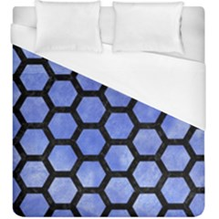 Hexagon2 Black Marble & Blue Watercolor (r) Duvet Cover (king Size) by trendistuff