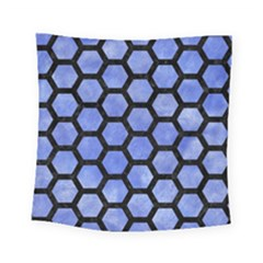 Hexagon2 Black Marble & Blue Watercolor (r) Square Tapestry (small) by trendistuff