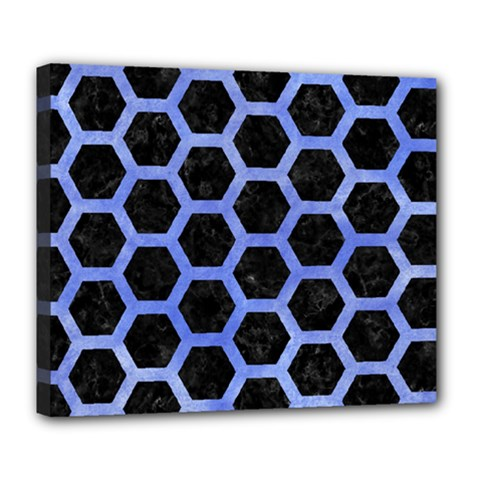 Hexagon2 Black Marble & Blue Watercolor Deluxe Canvas 24  X 20  (stretched) by trendistuff