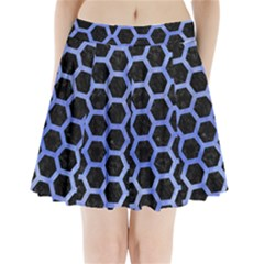 Hexagon2 Black Marble & Blue Watercolor Pleated Mini Skirt by trendistuff