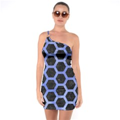 Hexagon2 Black Marble & Blue Watercolor One Shoulder Ring Trim Bodycon Dress by trendistuff