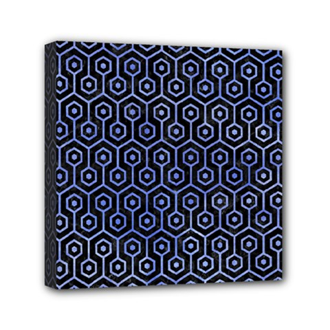 Hexagon1 Black Marble & Blue Watercolor Mini Canvas 6  X 6  (stretched) by trendistuff