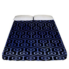Hexagon1 Black Marble & Blue Watercolor Fitted Sheet (king Size) by trendistuff