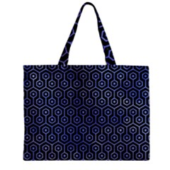 Hexagon1 Black Marble & Blue Watercolor Zipper Mini Tote Bag by trendistuff