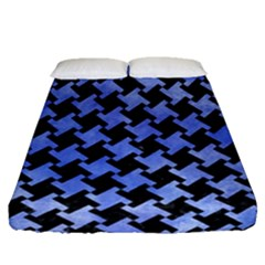 Houndstooth2 Black Marble & Blue Watercolor Fitted Sheet (queen Size) by trendistuff
