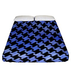 Houndstooth2 Black Marble & Blue Watercolor Fitted Sheet (california King Size) by trendistuff