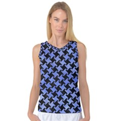 Houndstooth2 Black Marble & Blue Watercolor Women s Basketball Tank Top by trendistuff