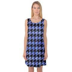 Houndstooth1 Black Marble & Blue Watercolor Sleeveless Satin Nightdress by trendistuff