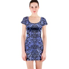 Damask2 Black Marble & Blue Watercolor (r) Short Sleeve Bodycon Dress by trendistuff