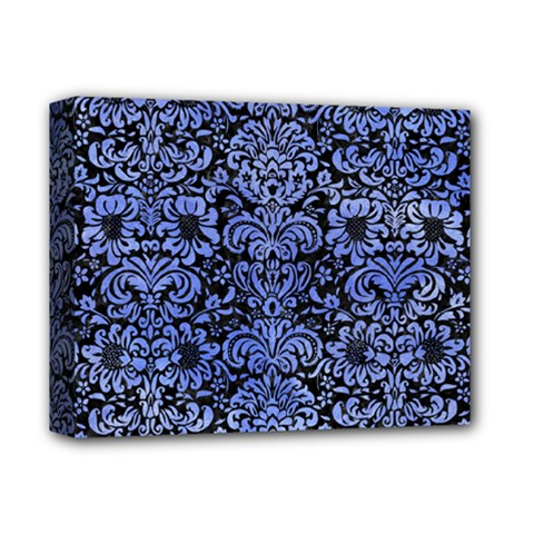 Damask2 Black Marble & Blue Watercolor Deluxe Canvas 14  X 11  (stretched) by trendistuff