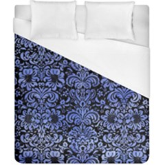 Damask2 Black Marble & Blue Watercolor Duvet Cover (california King Size) by trendistuff
