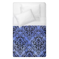 Damask1 Black Marble & Blue Watercolor (r) Duvet Cover (single Size) by trendistuff