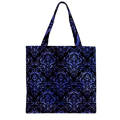 Damask1 Black Marble & Blue Watercolor Zipper Grocery Tote Bag by trendistuff