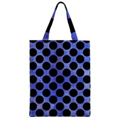 Circles2 Black Marble & Blue Watercolor (r) Zipper Classic Tote Bag by trendistuff