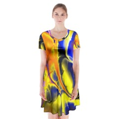Fractal Art Pattern Cool Short Sleeve V Neck Flare Dress