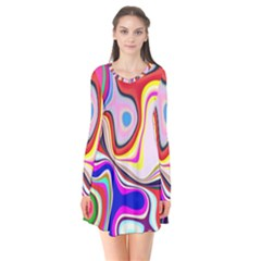 Colourful Abstract Background Design Flare Dress