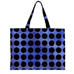 Circles1 Black Marble & Blue Watercolor (r) Zipper Mini Tote Bag by trendistuff