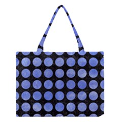 Circles1 Black Marble & Blue Watercolor Medium Tote Bag by trendistuff