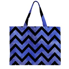 Chevron9 Black Marble & Blue Watercolor (r) Zipper Mini Tote Bag by trendistuff