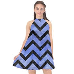 Chevron9 Black Marble & Blue Watercolor (r) Halter Neckline Chiffon Dress