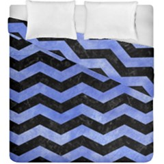 Chevron3 Black Marble & Blue Watercolor Duvet Cover Double Side (king Size) by trendistuff