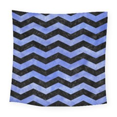 Chevron3 Black Marble & Blue Watercolor Square Tapestry (large) by trendistuff