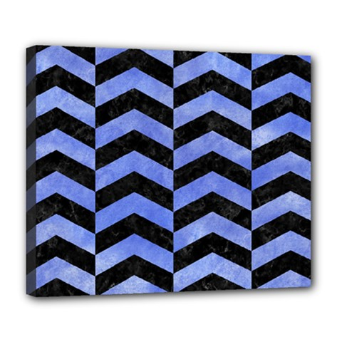Chevron2 Black Marble & Blue Watercolor Deluxe Canvas 24  X 20  (stretched) by trendistuff