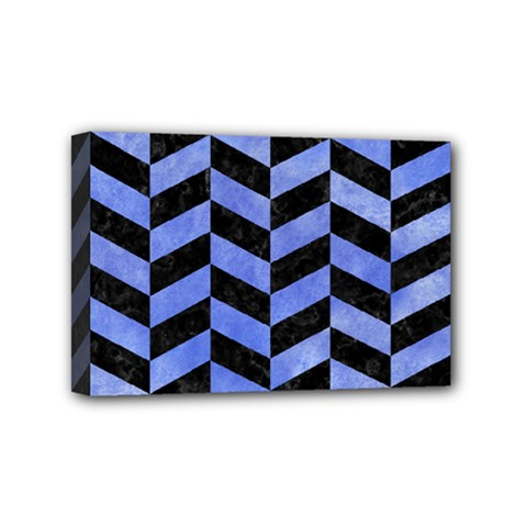 Chevron1 Black Marble & Blue Watercolor Mini Canvas 6  X 4  (stretched) by trendistuff