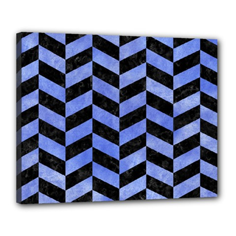 Chevron1 Black Marble & Blue Watercolor Canvas 20  X 16  (stretched) by trendistuff