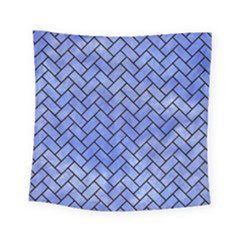 Brick2 Black Marble & Blue Watercolor (r) Square Tapestry (small) by trendistuff