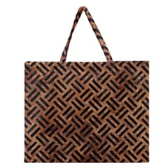 Woven2 Black Marble & Brown Stone (r) Zipper Large Tote Bag by trendistuff