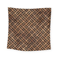 Woven2 Black Marble & Brown Stone (r) Square Tapestry (small) by trendistuff