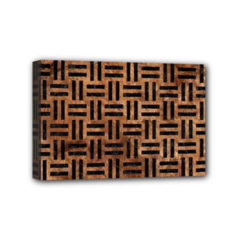 Woven1 Black Marble & Brown Stone (r) Mini Canvas 6  X 4  (stretched) by trendistuff