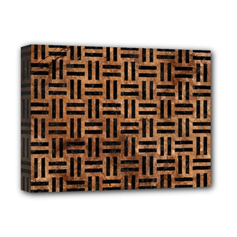 Woven1 Black Marble & Brown Stone (r) Deluxe Canvas 16  X 12  (stretched)  by trendistuff