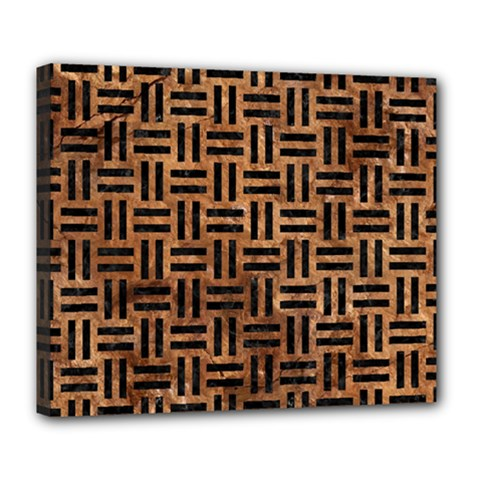 Woven1 Black Marble & Brown Stone (r) Deluxe Canvas 24  X 20  (stretched) by trendistuff