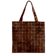 Woven1 Black Marble & Brown Stone (r) Zipper Grocery Tote Bag by trendistuff