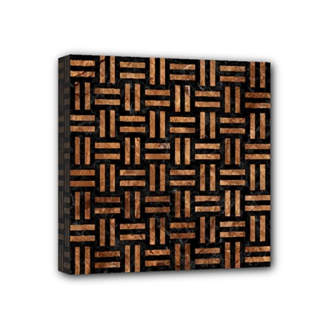 Woven1 Black Marble & Brown Stone Mini Canvas 4  X 4  (stretched) by trendistuff