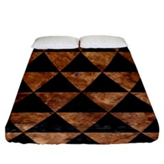 Triangle3 Black Marble & Brown Stone Fitted Sheet (king Size) by trendistuff