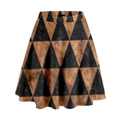 Triangle3 Black Marble & Brown Stone High Waist Skirt by trendistuff
