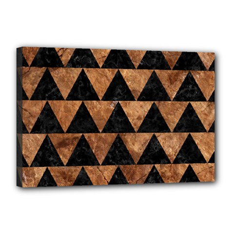 Triangle2 Black Marble & Brown Stone Canvas 18  X 12  (stretched) by trendistuff