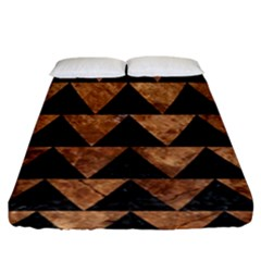 Triangle2 Black Marble & Brown Stone Fitted Sheet (king Size) by trendistuff