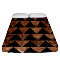 Triangle2 Black Marble & Brown Stone Fitted Sheet (california King Size) by trendistuff